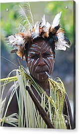 Papuan Fisherwoman Acrylic Print by Anne Gordon