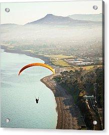 Paragliding Off Killiney Hill Acrylic Print by David Soanes Photography