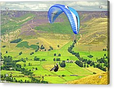 Paragliding Off Mam Tor 01 Acrylic Print by Rod Johnson
