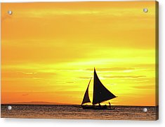 Paraw Sailing At Sunset, Philippines Acrylic Print by Joyoyo Chen