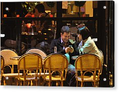 Paris At Night In The Cafe Acrylic Print by Mary Machare