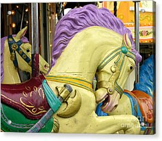 Paris Carousel Horses Acrylic Print by Anne Gordon