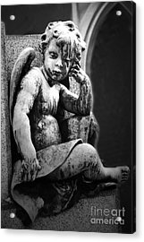 Paris Cemetery - Pere La Chaise - Black And White Cherub Acrylic Print by Kathy Fornal