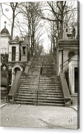 Paris Cemetery Staircase - Pere Lachaise Mausoleum Stairs  Acrylic Print by Kathy Fornal