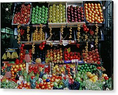 Acrylic Print featuring the photograph Paris Market Display With A Glow by Tom Wurl