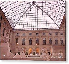 Paris Musee Du Louvre Pyramid Sculptures Acrylic Print