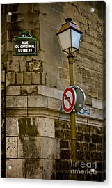 Acrylic Print featuring the photograph Paris Street Corner by Kim Wilson