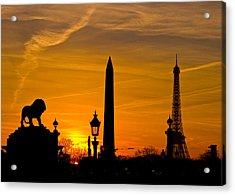 Paris Sunset Acrylic Print by Kurt Weiss