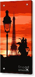 Paris Tour Eiffel Red Acrylic Print by Yuriy  Shevchuk