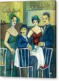 Parisian Cafe Scene In Blue Green And Brown Acrylic Print
