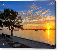 Park Bench Bay View Acrylic Print by Jenny Ellen Photography