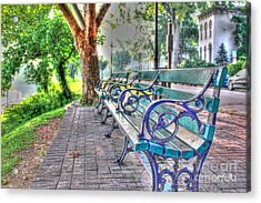 Park Bench On Riverside Drive Acrylic Print