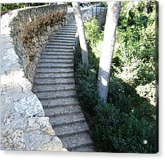 Park Guell Curved Steps Stairway In Barcelona Spain Acrylic Print by John Shiron