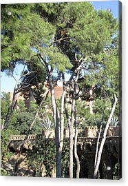Park Guell Stone Pathway By Antoni Gaudi In Barcelona Spain Acrylic Print by John Shiron