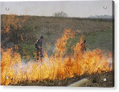 Park Workers Set A Controlled Fire Acrylic Print by Annie Griffiths