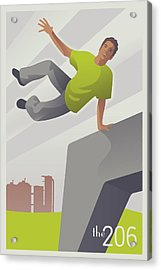 Parkour At Gasworks Park Seattle Acrylic Print by Mitch Frey