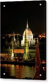 Parliament Building Lit Up At Night, Danube River, Acrylic Print by Roberto Herrero Garcia