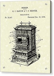 Parlor Stove Bascom And Heister 1884 Patent Art Acrylic Print by Prior Art Design