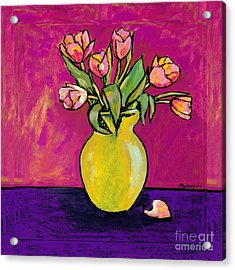 Parrot Tulips In A Yellow Vase Acrylic Print