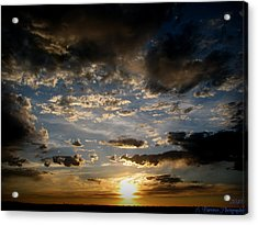 Partly Cloudy Skies At Sunset Acrylic Print by Aaron Burrows