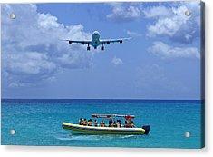 Passenger Airplane Overflies Boat. Acrylic Print by Fernando Barozza