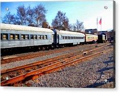 Passenger Trains At The Old Sacramento Train Depot . 7d11623 Acrylic Print