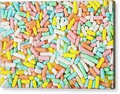 Pastel Birthday Sprinkles - Macro Acrylic Print by Nic Taylor