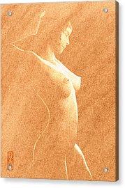 Pastel Chiaroscuro Nude Acrylic Print by Hakon Soreide