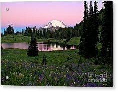 Pastel Skies Over Rainier Acrylic Print by Marcus Angeline