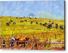 Pastoral Landscape Painterly . 7d15962 Acrylic Print by Wingsdomain Art and Photography
