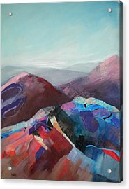 Patchwork Mountain Acrylic Print by Sally Bullers
