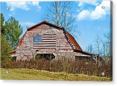 Patriotic Barn Acrylic Print by Susan Leggett