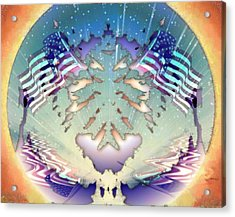 Acrylic Print featuring the painting Patriotic Reflections by Mario Carini