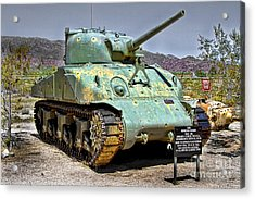 Patton M4 Sherman Acrylic Print by Jason Abando