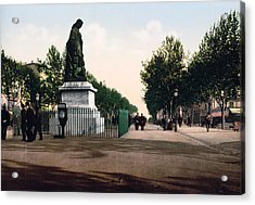 Paul Riquet Statue And The Allees In Beziers - France Acrylic Print by International  Images
