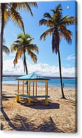 Pavilion On A Beach In Arecibo Acrylic Print by George Oze