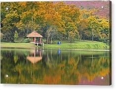 Pavillion In The Autumn Park  Acrylic Print by Anek Suwannaphoom