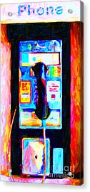 Pay Phone . V2 Acrylic Print by Wingsdomain Art and Photography
