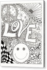 Peace Love And Happiness Acrylic Print by Paula Dickerhoff