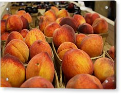 Peaches Ala Mollys Market Acrylic Print by Theresa Johnson