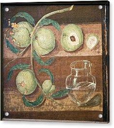 Peaches And A Glass Jug, Roman Fresco Acrylic Print by Sheila Terry