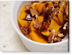 Peaches With Chocolate Drizzle And Pecans Acrylic Print by Andee Design