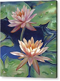Acrylic Print featuring the painting Peachy Pink Nymphaea Water Lilies by Nancy Tilles