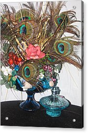 Peacock Feather Center Piece In Blue Glass Acrylic Print by HollyWood Creation By linda zanini