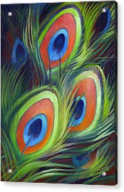 Peacock Feathers Acrylic Print by Nancy Tilles