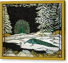 Peacocks In The Snow Acrylic Print by Alexandra  Sanders