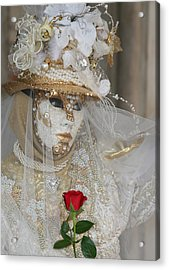 Pearl Bride With Rose 2 Acrylic Print by Donna Corless
