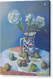 pears and Talavera table pitcher Acrylic Print