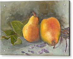 Acrylic Print featuring the painting Pears Leaves And Petals by Jessmyne Stephenson