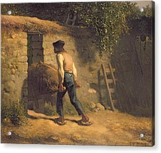 Peasant With A Wheelbarrow Acrylic Print by Jean-Francois Millet